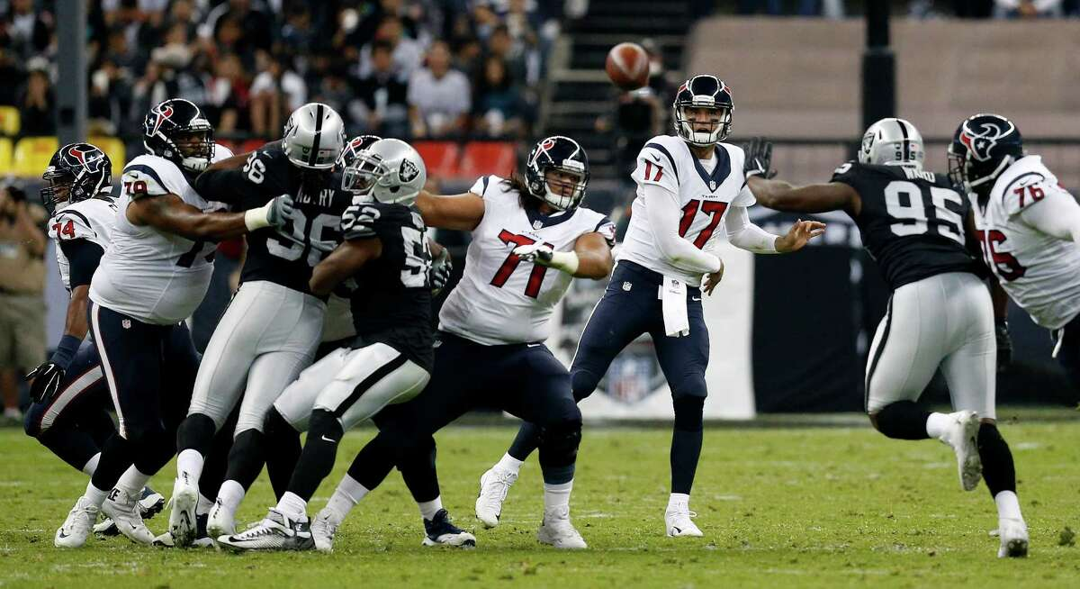 PRESSURE ON OSWEILER Quarterback Brock Osweiler has been better at home than on the road. At NRG Stadium, he's thrown eight touchdown passes and seven interceptions. He's completed 64.2 percent and has an 83.2 rating. He's gone six consecutive games without throwing more than one interception. After throwing six interceptions in his first four games, he's thrown four in his last six. He's getting solid protection, getting sacked eight times in his last five games. He must be more productive and consistent against a pass defense that ranks 28th (274.5 yards).