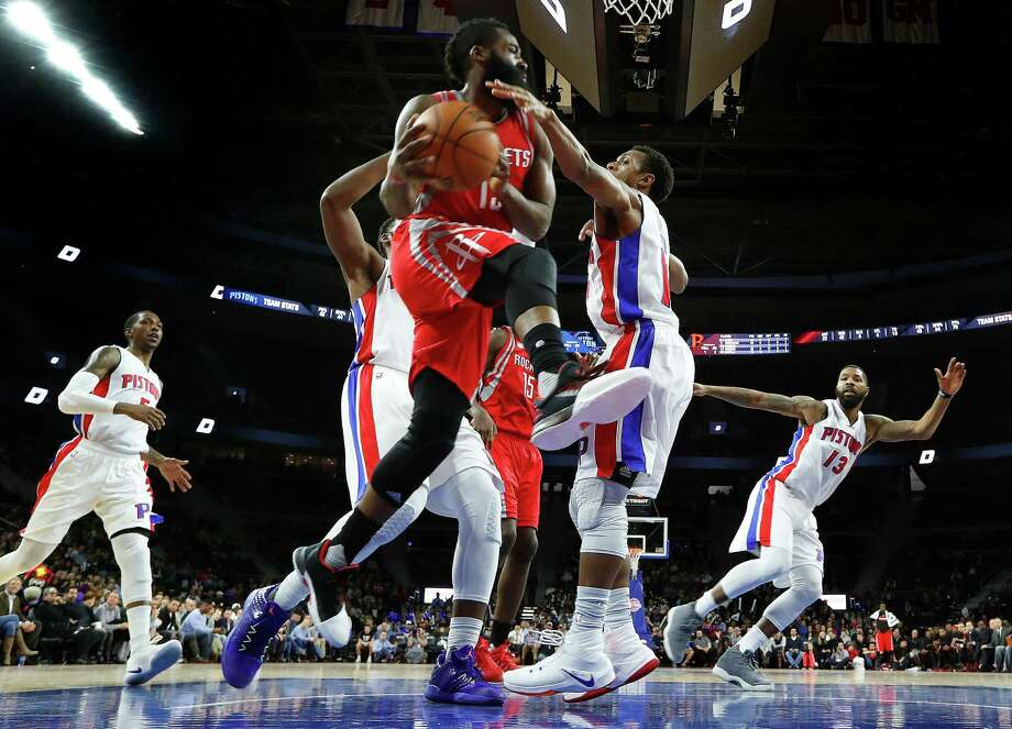 Houston Rockets guard James Harden (13) drives against Detroit Pistons guard Ish Smith (14) in the second half of an NBA basketball game in Auburn Hills, Mich., Monday, Nov. 21, 2016. (AP Photo/Paul Sancya) Photo: Paul Sancya, Associated Press / Copyright 2016 The Associated Press. All rights reserved.