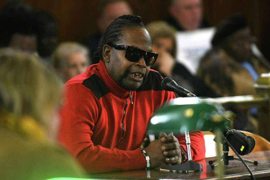 Marlon Anderson give his input on the proposed $177 million budget for 2017 in front of the Albany Common Council on Monday, Nov. 21, 2016 in Albany, N.Y. (Lori Van Buren / Times Union) Photo: Lori Van Buren / 20038909A