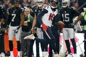 Texans wide receiver DeAndre Hopkins races down the sideline after catching a pass in the first quarter. Although replays showed that Hopkins stayed inbounds, the play was blown dead, and it was ruled that Hopkins stepped out at the Raiders' 36-yard line.