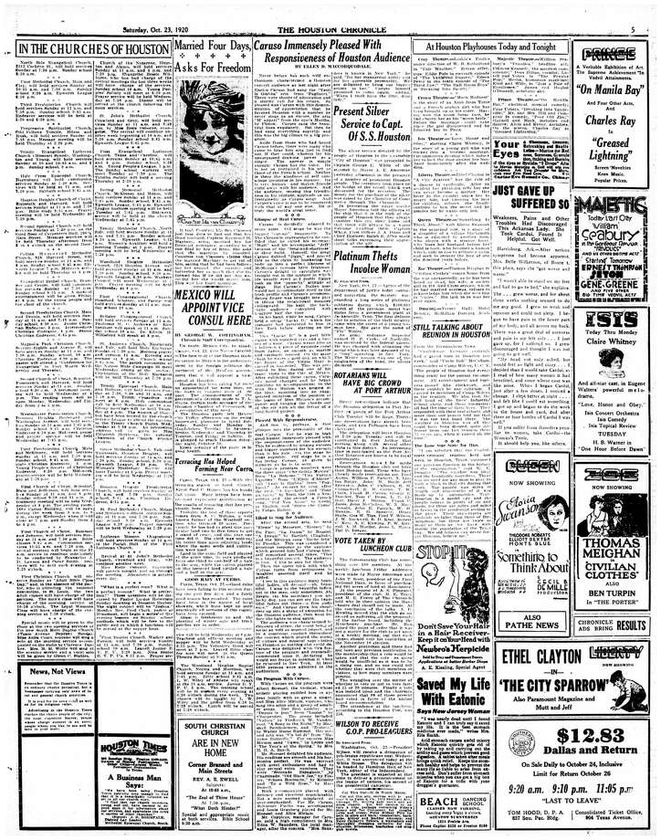 Houston Chronicle inside page (HISTORIC) – October 23, 1920 - section 1, page 5. Caruso Immensely Pleased With Responsiveness of Houston Audience Photo: HC Staff / Houston Chronicle