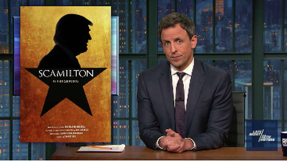 "Seth Meyers introduces the Broadway musical ""Scamilton"" on ""Late Night"" on Monday, Nov. 21. Photo: Late Night With Seth Meyers"