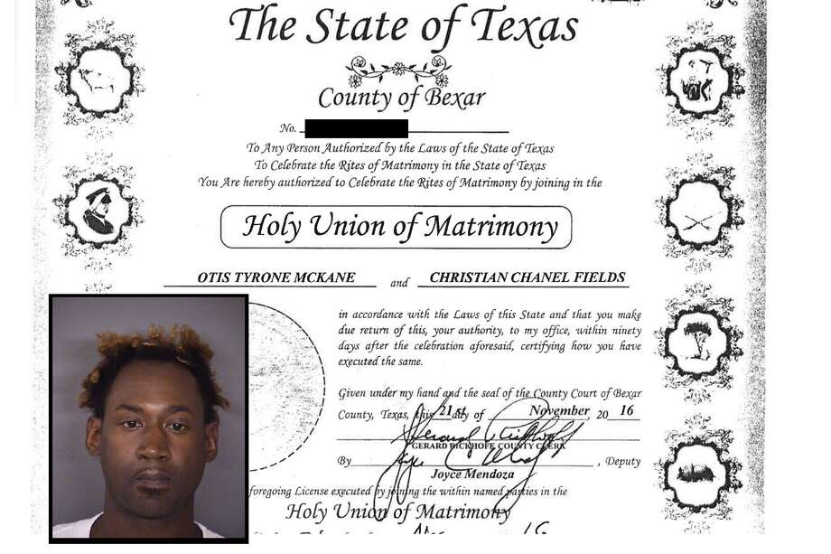 A screenshot of Otis Tyrone McKane and  Christian Chanel Fields' marriage license. Photo: Bexar County