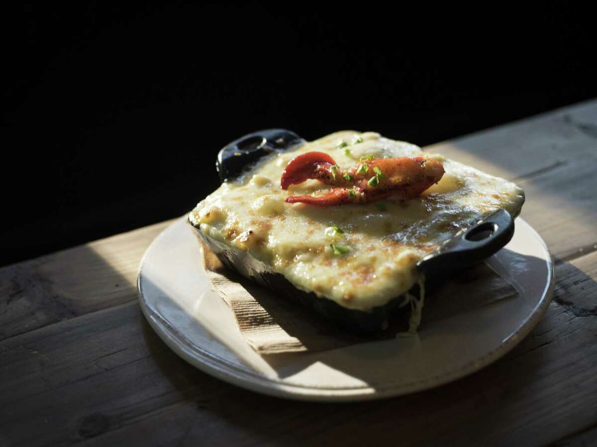 Classic mac and cheese with lobster meat and herbs at Peggy's on the Green