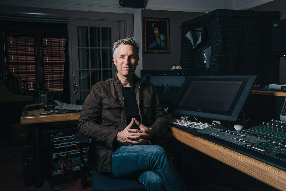 "Matthew Wood, Supervising Sound Editor at Skywalker Sound, sits in his recording studio in the Tech Building at Skywalker Ranch on November 21, 2016. He has been working for forty days straight to finish the sound for Rogue One. In addition, he's a voice actor. ""George gave me some breaks,"" he said, early in his career. Photo: Peter Prato, Special To The Chronicle"