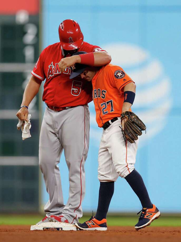 Angels' Albert Pujols (left) comes into the upcoming series with 53 career home runs against the Astros, the most all-time by any player. Photo: Karen Warren, Houston Chronicle / 2016 Houston Chronicle