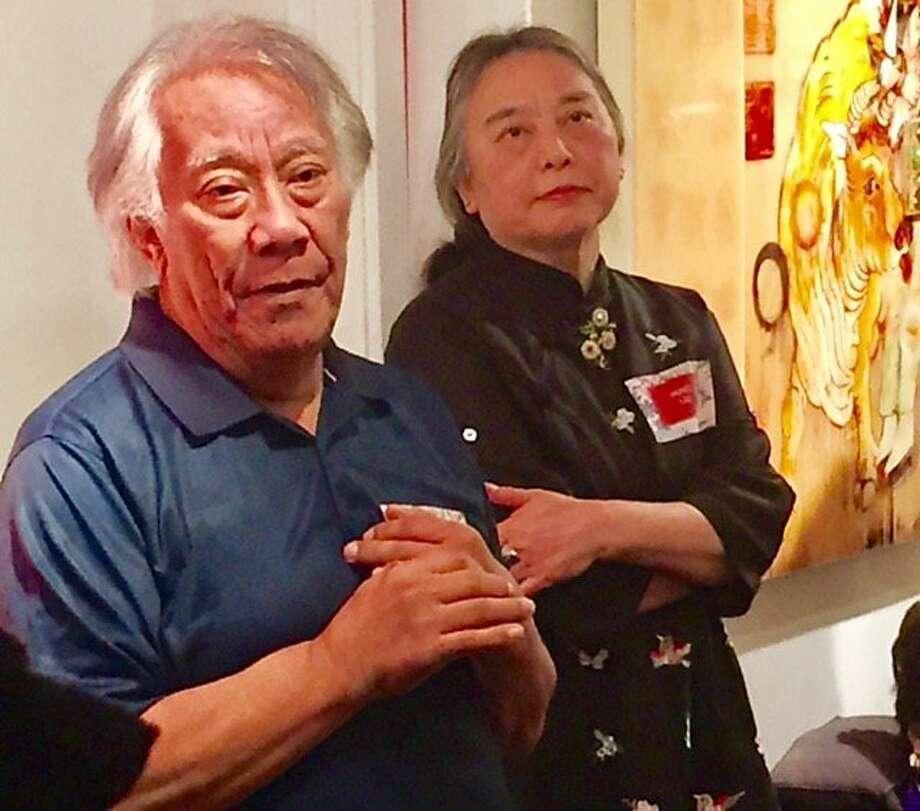 David Salgado and Hung Liu at Trillium Graphics. Photo: Leah Garchik, San Francisco Chronicle
