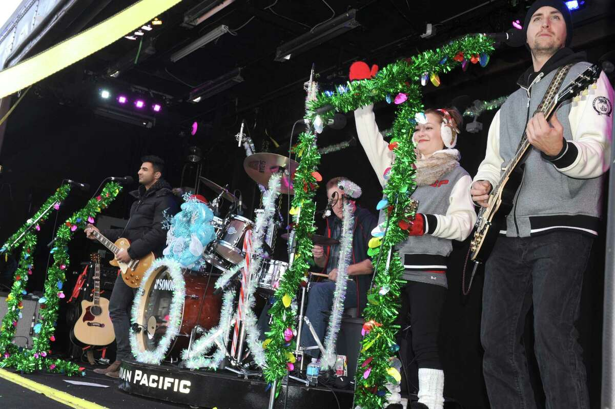 The Canadian Pacific Holiday Train of Lights makes a stop on Saturday Nov. 29, 2014 in Fort Edward, N.Y. There was a reception and Tracey Brown and the Holiday Train band will entertained at each stop. (Michael P. Farrell/Times Union)