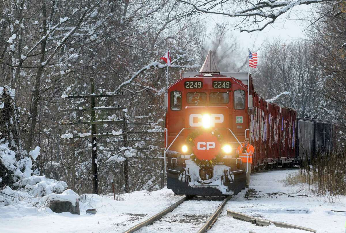 The Canadian Pacific Holiday Train of Lights makes a stop on Saturday Nov. 29, 2014 in Fort Edward, N.Y.(Michael P. Farrell/Times Union)