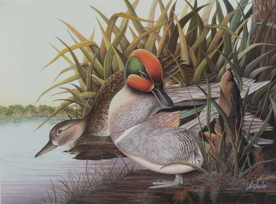"A photo of a watercolor painting titled ""LA Marsh Green-Green Winged Teal,""  by Suzanne Seiler, one of the artists participating in the ""2 Girls, a Guy, and a Trailer...and more"" Nov. 28 through Dec. 4 at the Gallery at the Madeley Building in downtown Conroe."