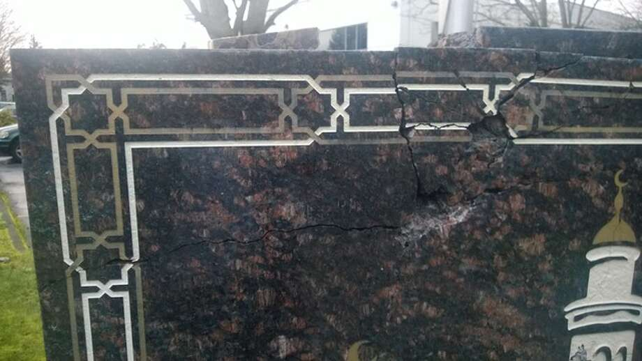 """The Muslim Association of Puget Sound released this photo Tuesday of their vandalized granite sign at their Redmond mosque, an action they called a """"clear act of hate."""" Photo: Muslim Association Of Puget Sound"""