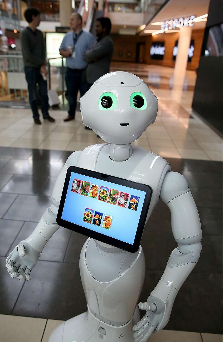 Pepper, from SoftBank Robotics, is on duty at Westfield San Francisco Centre.