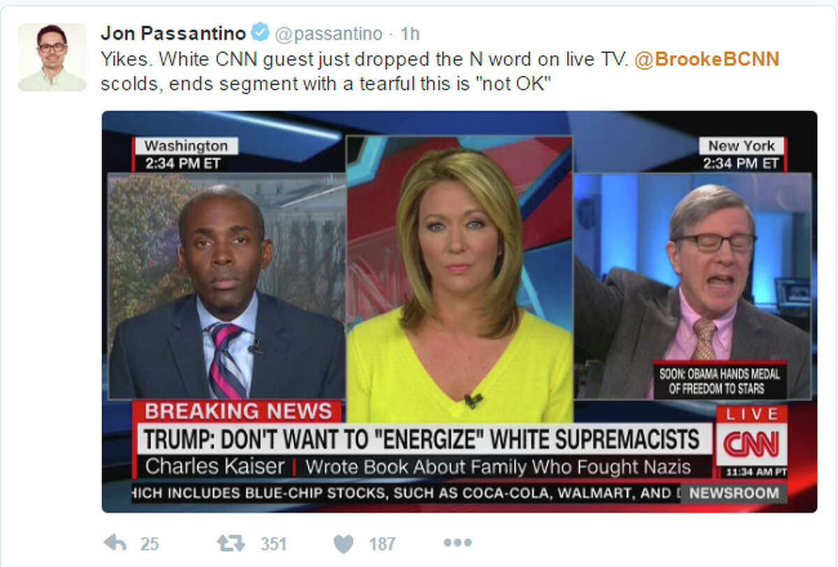 CNN anchor Brooke Baldwin rebuked guest Charles Kaiser, right, for using the n-word during an interview about President-elect Donald Trump on Tuesday afternoon. (Photo by Jon Passantino/Twitter) Alt-right's followers support of Trump has been making headlines. Keep clicking to learn more about the political movement.