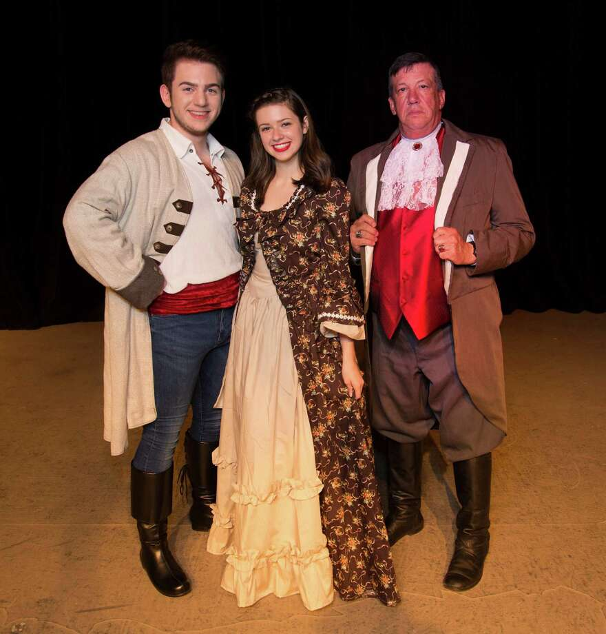 "From left Price Eric (Austin Colburn,) Ariel (Taylor Maresca) and (Grimsby) Baron Dan Jackson in The Players Theatre Company's ""Little Mermaid."" The show opens Dec. 2 at the Owen Theatre in downtown Conroe."