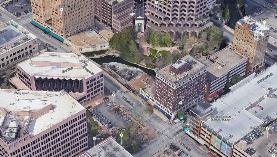 Dallas hotelier Mark Wyant plans to build a six- to eight-story Saint Hotel location on the River Walk. It would replace the one-story building in the upper left. Photo: Google Maps