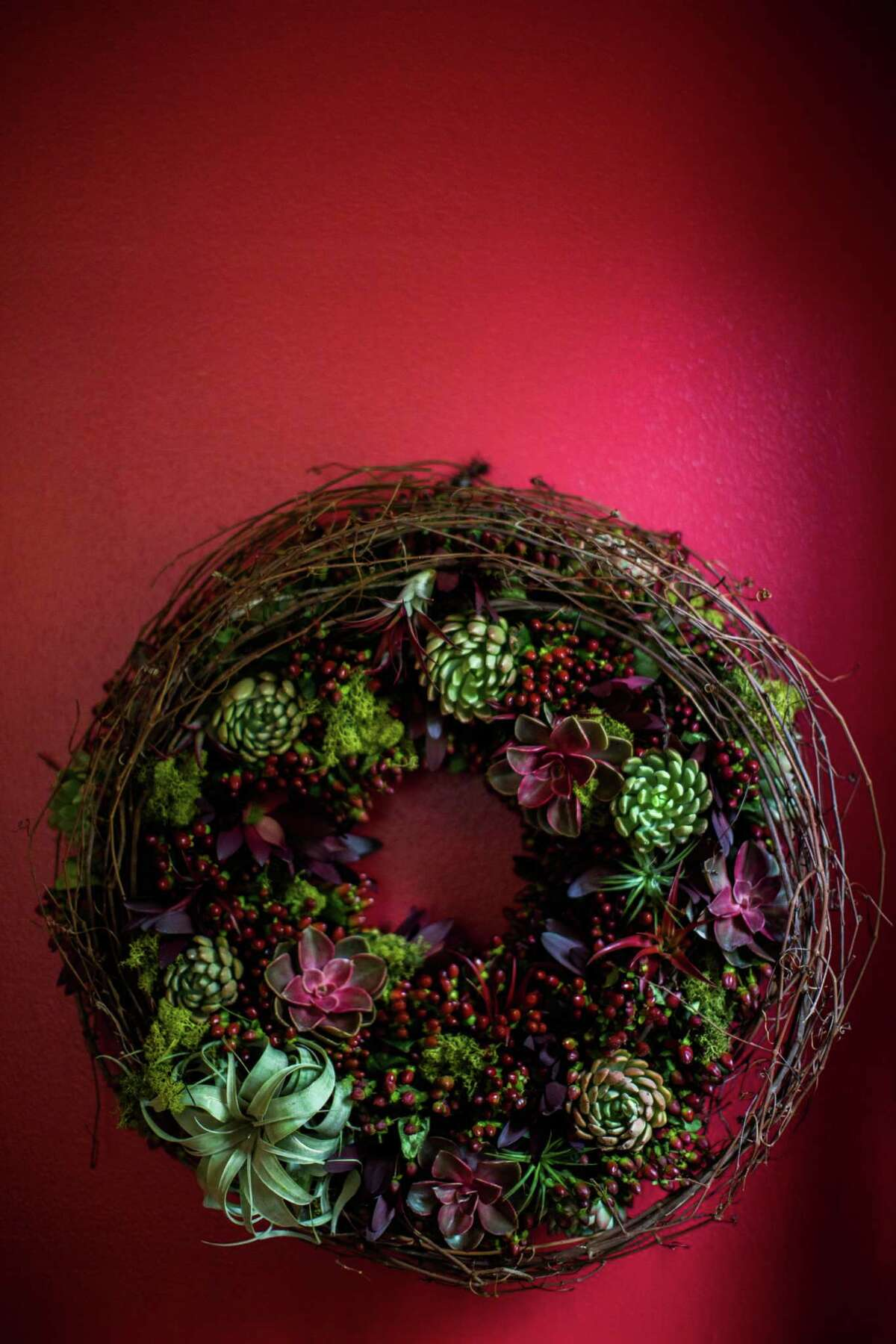 a living succulent wreath, created by H-E-B's new Blooms Design Studio, could ADd an element of surprise to your holiday DÉcor.