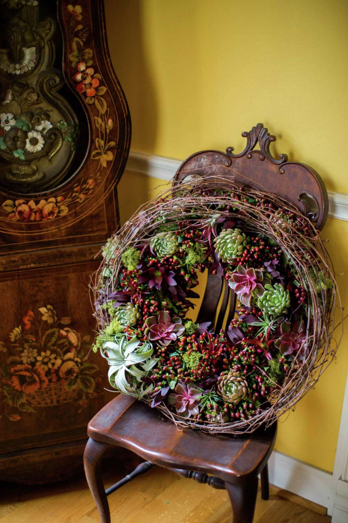 A succulent wreath, created by H-E-B's new Blooms Design Studio.