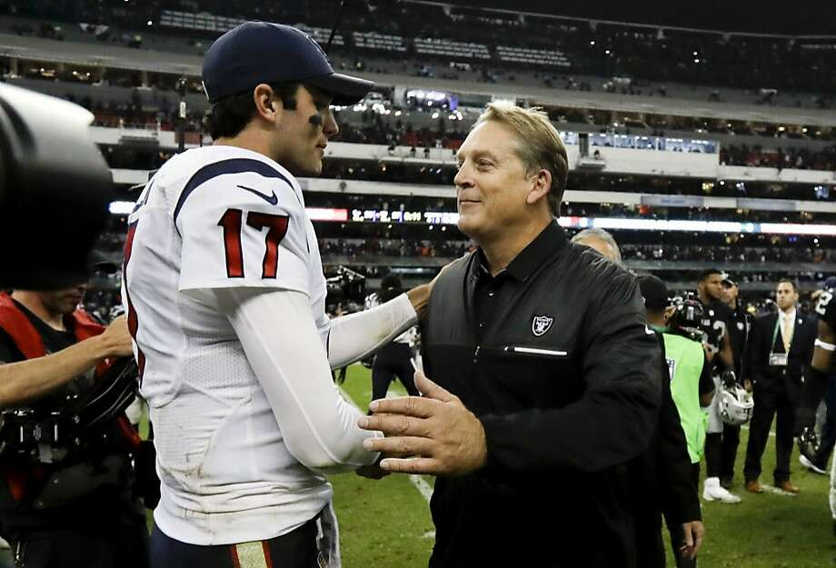 Houston Texans quarterback Brock Osweiler greets Oakland Raiders head coach Jack Del Rio after an NFL football game Monday, Nov. 21, 2016, in Mexico City. The Raiders won, 27-20. (AP Photo/Rebecca Blackwell) Photo: Rebecca Blackwell, Associated Press