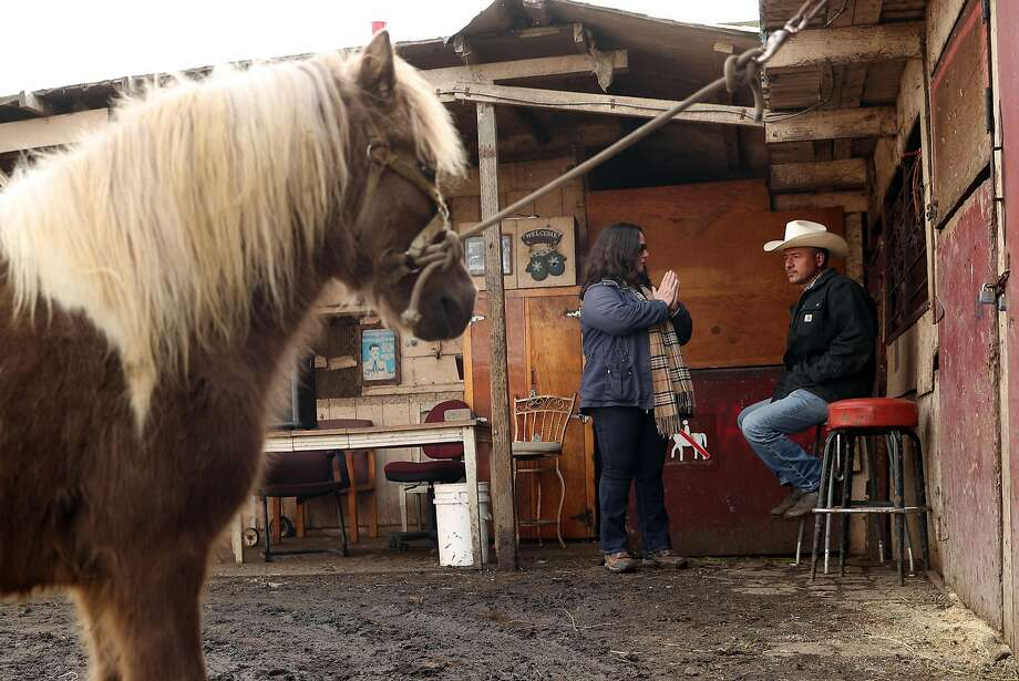 Top: Horse advocate Anne Novak and horse owner Guilleromo Avendano are battling the city to preserve the stable housing 100 horses. Photo: Scott Strazzante, The Chronicle