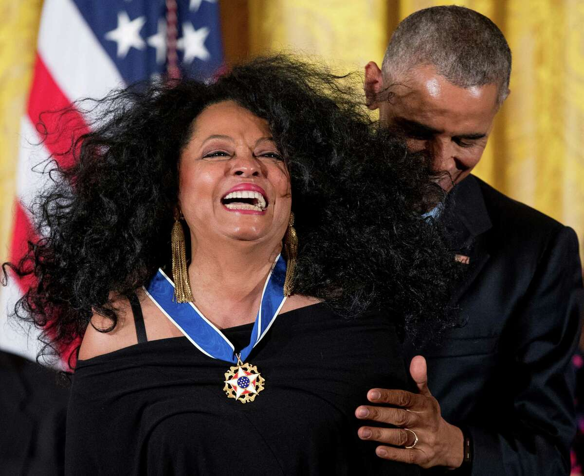 President Barack Obama presents the Presidential Medal of Freedom to singer Diana Ross during a ceremony in the East Room of the White House, Tuesday, Nov. 22, 2016, in Washington. Obama is recognizing 21 Americans with the nation's highest civilian award, including giants of the entertainment industry, sports legends, activists and innovators.