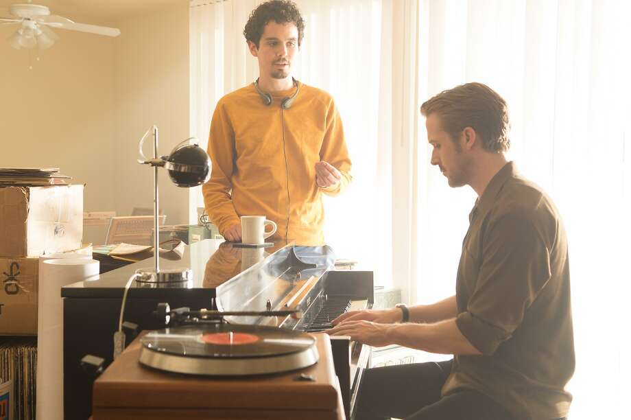 "Director Damien Chazelle (left) and Ryan Gosling on the set of ""La La Land."" Photo: Lionsgate"
