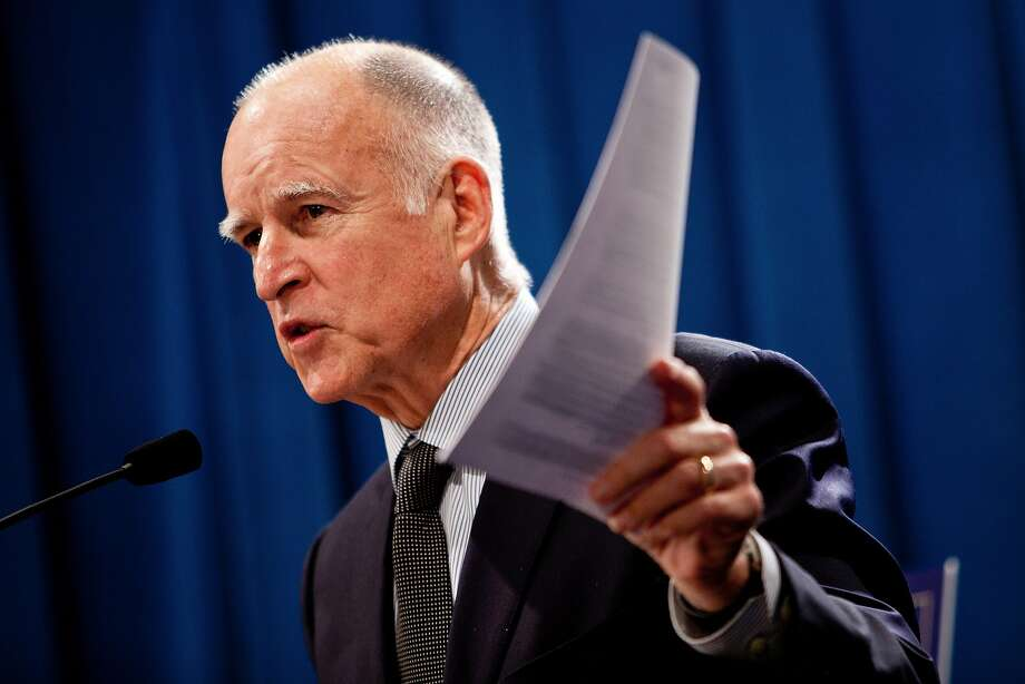 "Gov. Jerry Brown signed legislation banning pension ""spikings"" by public employees hired after January 2013. Photo: Max Whittaker, Getty Images"