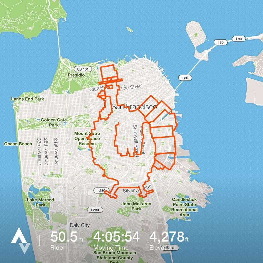 Bret Lobree tracked his route with GPS as he and his friends completed the Turkey Ride in San Francisco on Nov. 21, 2016.  Photo: Bret Lobree