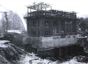 The construction of the Rocky River generating power station along the Housatonic River and Route 7, just north of the town center of New Milford is shown above on Oct. 5, 1927. This project was associated with the creation of Candlewood Lake.