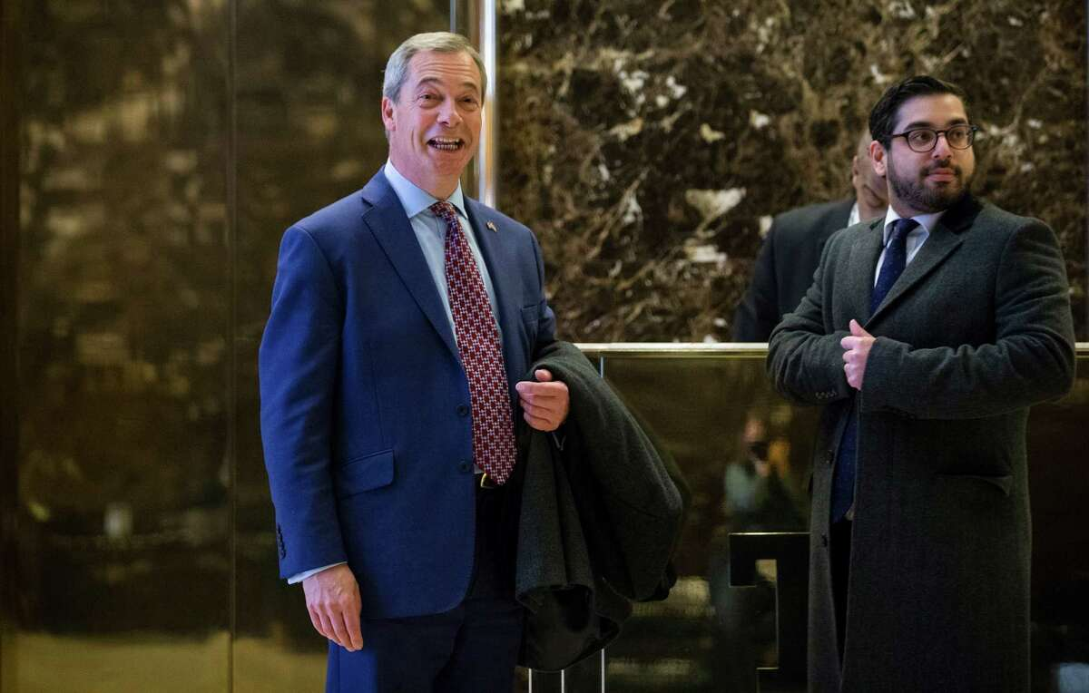 Nigel Farage, left, the interim leader of Britain's populist, anti-immigrant U.K. Independence Party and a supporter of Donald Trump, visited the president-elect at Trump Tower on Nov. 12.