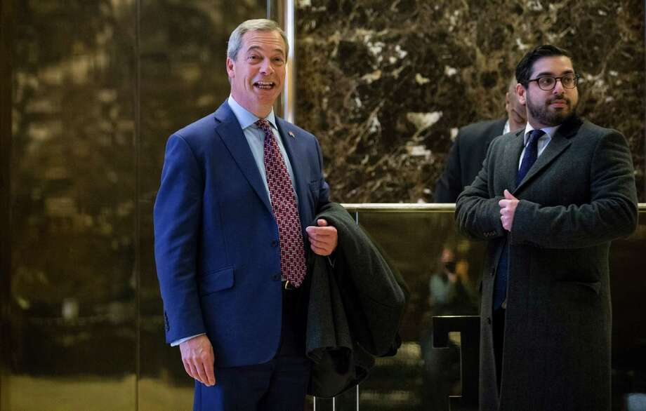 Nigel Farage, left, the interim leader of Britain's populist, anti-immigrant U.K. Independence Party and a supporter of Donald Trump, visited the president-elect at Trump Tower on Nov. 12. Photo: RUTH FREMSON, STF / NYTNS