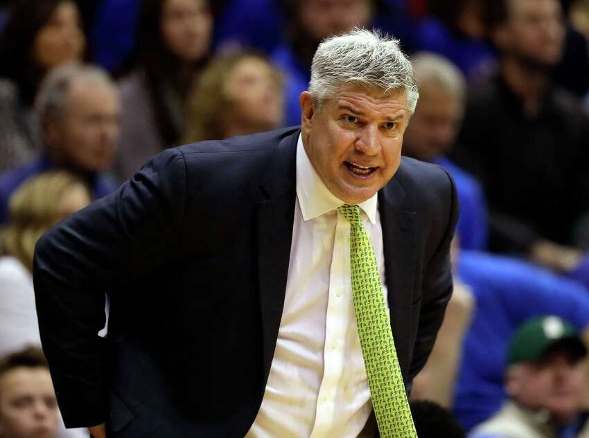 LAWRENCE, KS - NOVEMBER 18: Head coach Jimmy Patsos of the Siena Saints yells from the bench during the game against the Kansas Jayhawks at Allen Fieldhouse on November 18, 2016 in Lawrence, Kansas. (Photo by Jamie Squire/Getty Images) ORG XMIT: 669700925