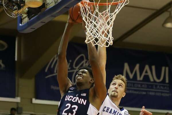 LAHAINA, HI - NOVEMBER 22: Juwan Durham #23 of the UConn Huskies takes a shot as he is guarded by Nate Pollard #45 of the Chaminade Silverswords during the first half of the Maui Invitational NCAA college basketball game at the Lahaina Civic Center on November 22, 2016 in Lahaina, Hawaii. The Huskies defeated the Silverswords 93-82. (Photo by Darryl Oumi/Getty Images)