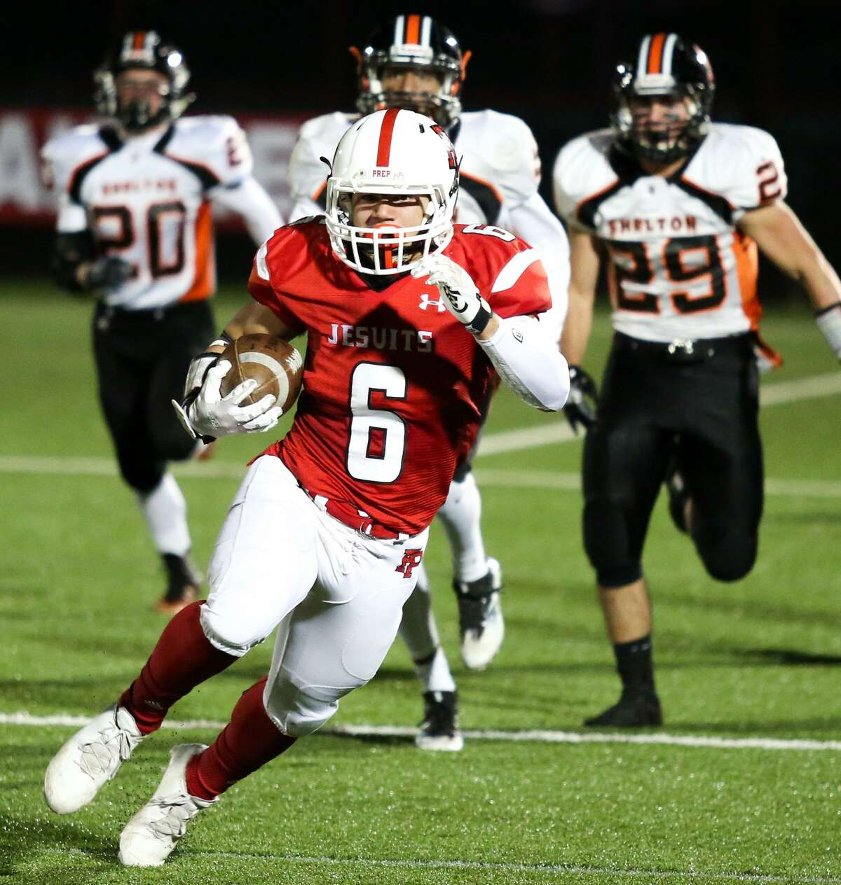 Fairfield Prep running back Douglas Harrison has emerged as a sophomore, rushing for more than 300 yards in the victory over Shelton.