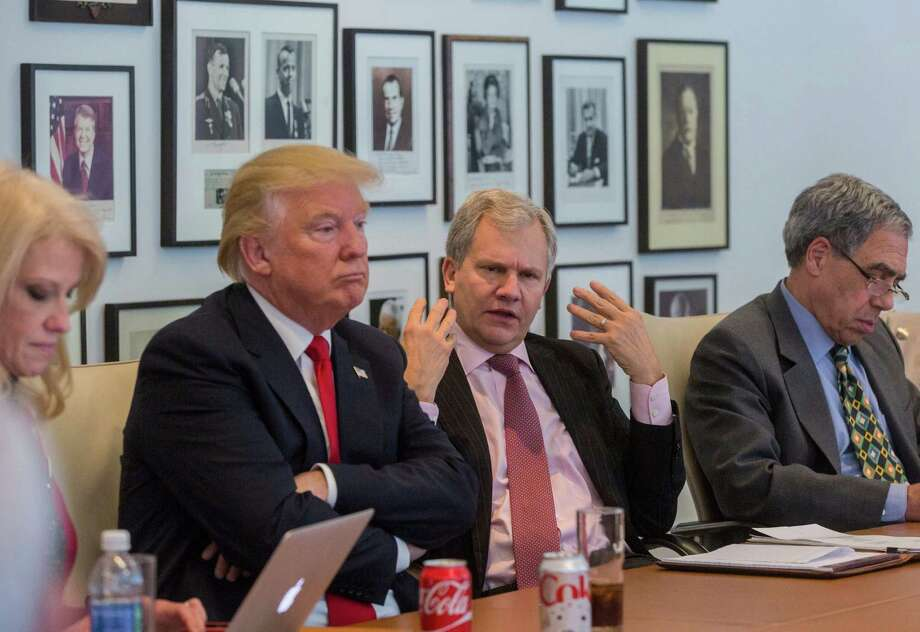 Arthur Sulzberger Jr., publisher of the New York Times, gestures during a meeting Tuesday with President-elect Donald Trump. Photo: HIROKO MASUIKE, STF / NYTNS
