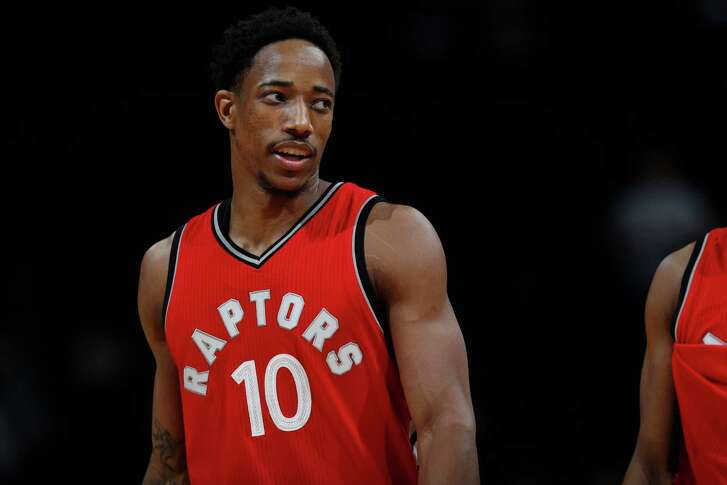 Toronto Raptors guard DeMar DeRozan (10) in overtime of an NBA basketball game Friday, Nov. 18, 2016, in Denver. The Raptors won 113-111 in overtime. (AP Photo/David Zalubowski)