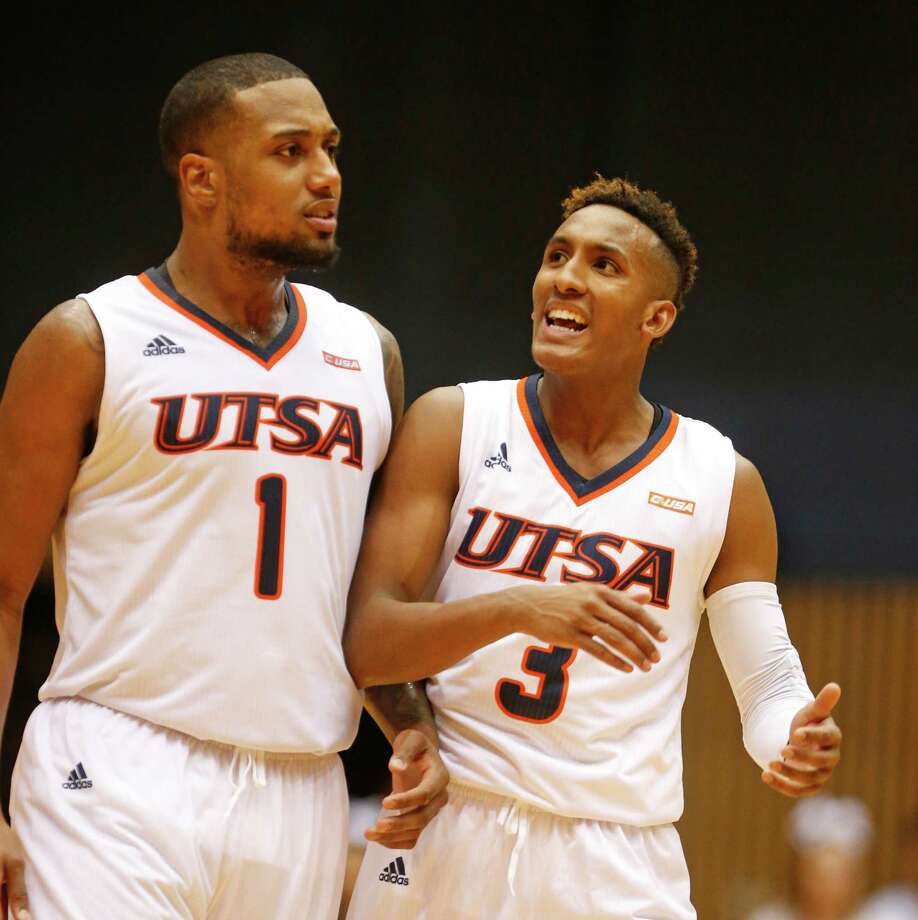 UTSAÕs Gino Littles celebrates with UTSAÕs Jeff Beverly after Ark Tech missed a shot in closing seconds in UTSA-ArkTech opener on November 7, 2016 at UTSA Convocation Center. Photo: Ron Cortes, Ronald Cortes / Freelance