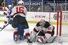Devils goalie Ken Appleby makes a save during their hockey game against the Toronto Marlies at the Times Union Center on Tuesday Nov. 22, 2016 in Albany, N.Y.  (Michael P. Farrell/Times Union)