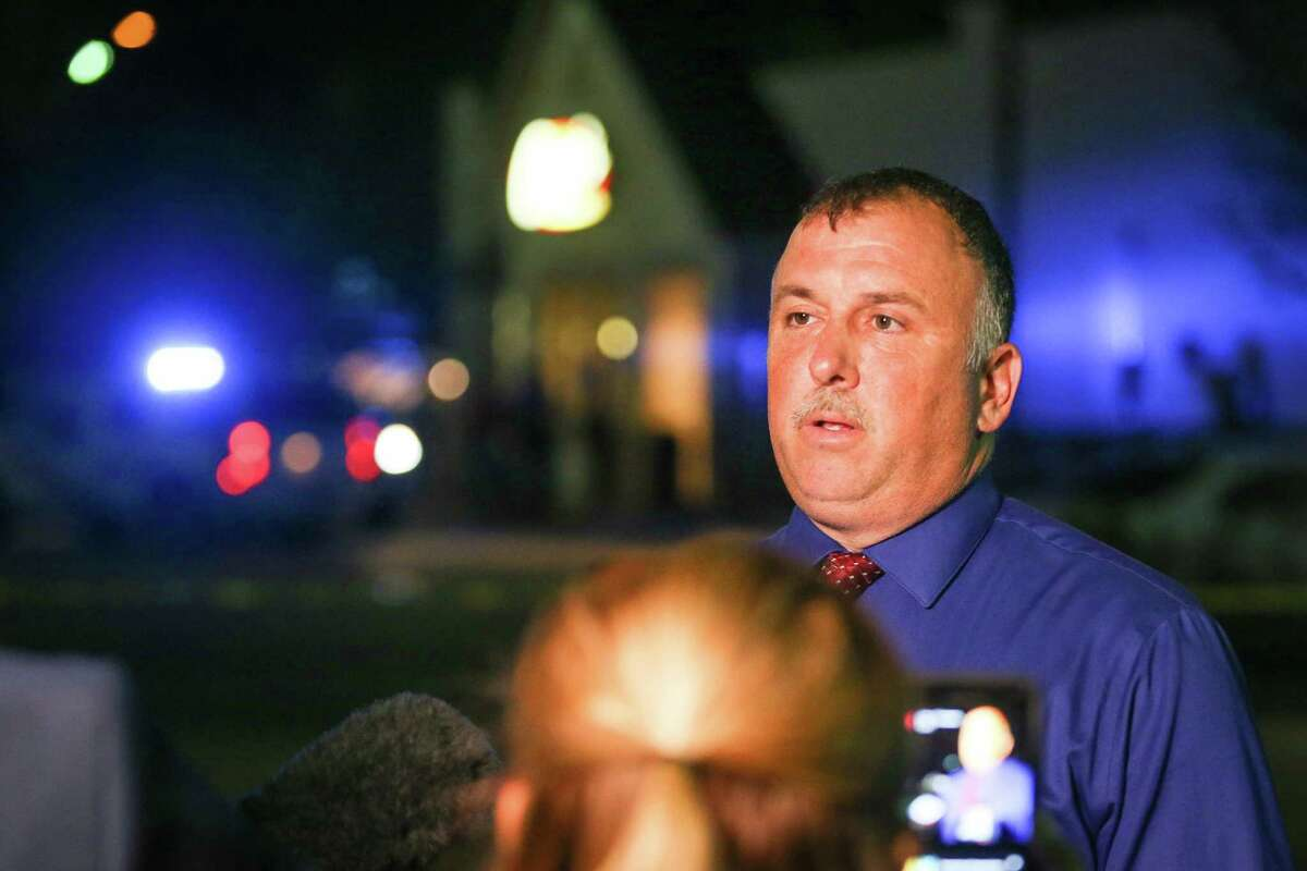 Lt. Brady Fitzgerald, of Montgomery County Sheriff's Office, briefs the media at the scene of the shooting.