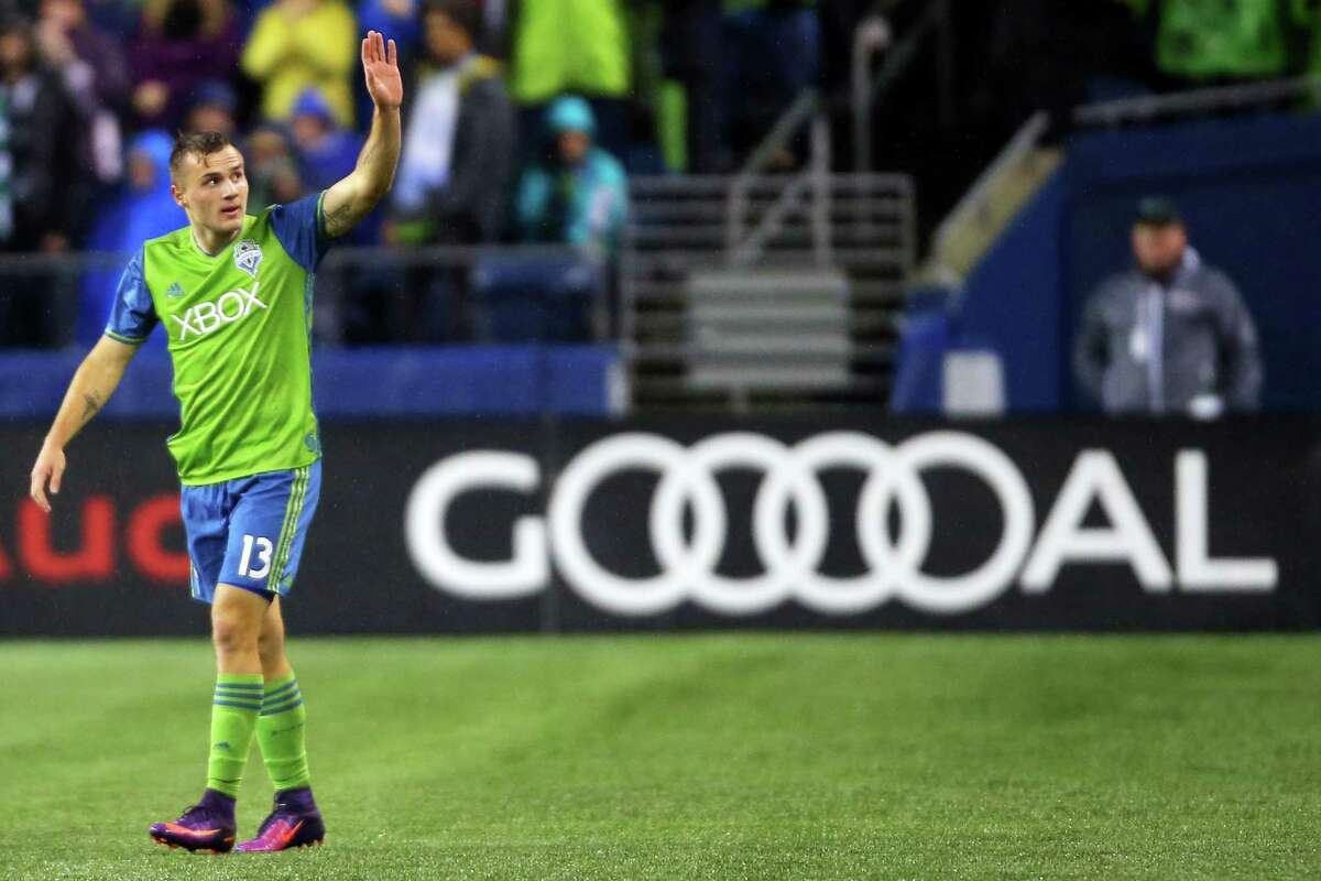 Jordan Morris waves to the crowd after scoring a goal for the Sounders in the first half of the 1st leg of the Western Conference Championship, Tuesday, Nov. 22, 2016 at CenturyLink Field.