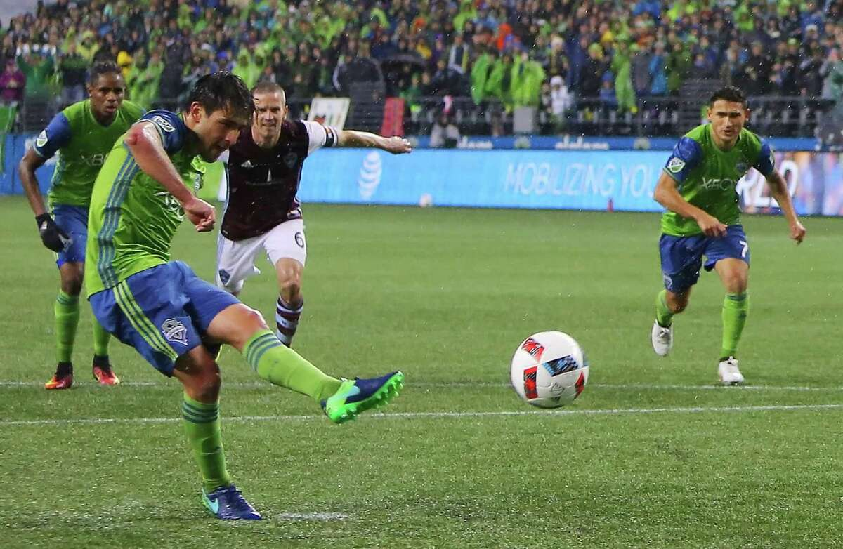 Seattle's Nicolas Lodiero scores off a penalty shot during the second half of the first leg of the Western Conference Championship game between the Seattle Sounders and the Colorado Rapids, Tuesday, Nov. 22, 2016 at CenturyLink Field. Seattle won 2-1.