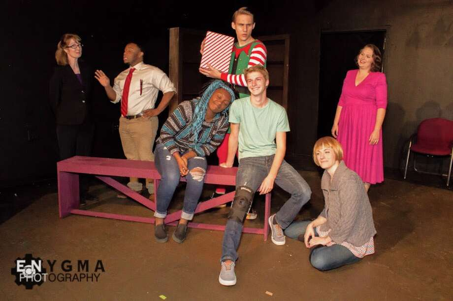 """Jana Drew (from left) , Darcell Bios, Lillie Freeman, Evan McCloskey, Kendall Dunlap, Kyla McCoy and Liz Vermeulen star in the Overtime Theater's staging of """"Merry Gentlemen."""" Photo: Courtesy Enygma Photography / Enygma Photography 2016"""
