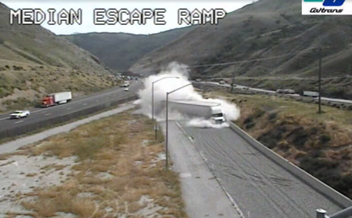 Caltran shared a video of just how quick a runaway truck ramp can stop a fast-moving big rig.