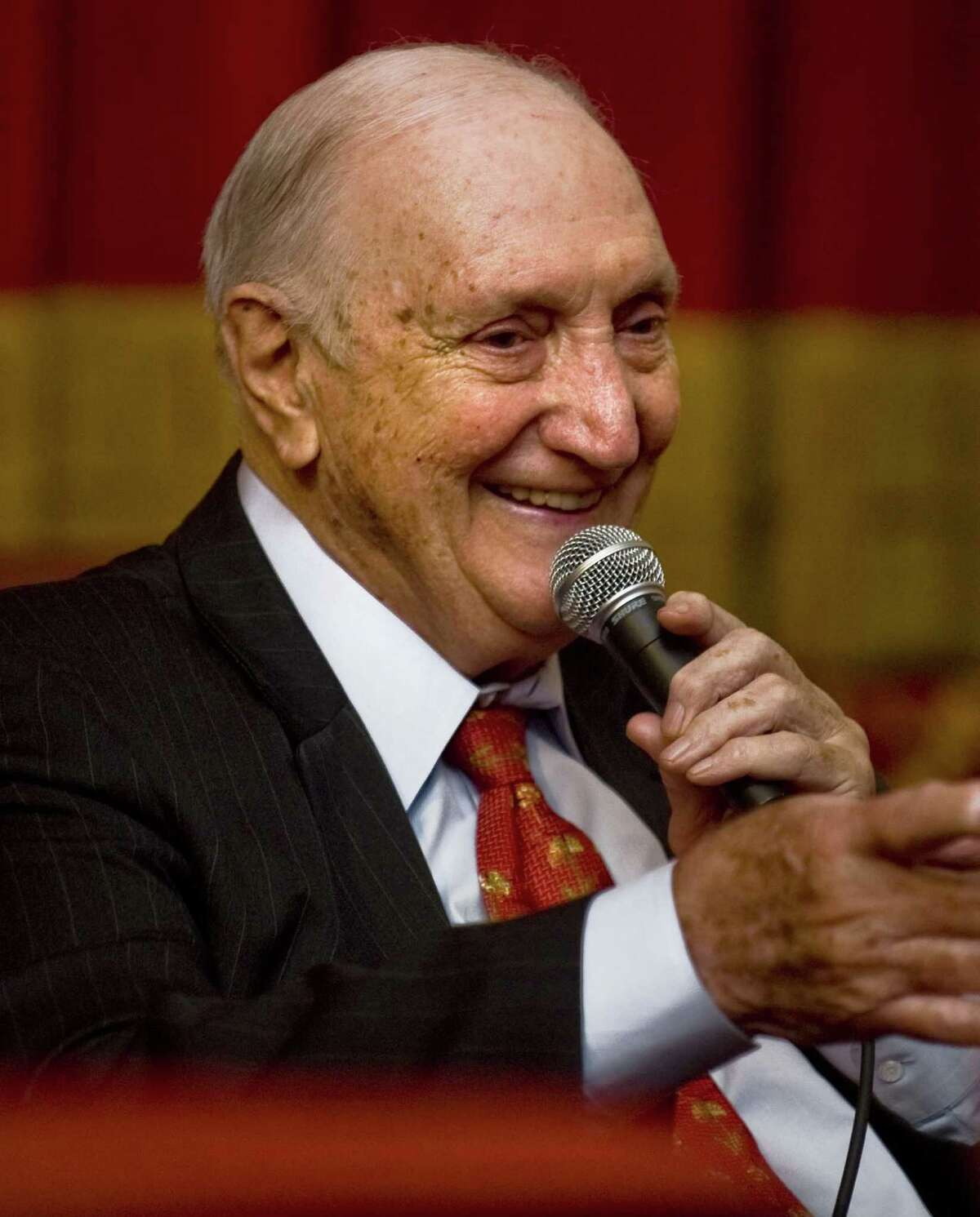 Former pitcher Ralph Branca answered fans' questions in Stamford's Avon Theatre in October, 2013. He has died at age 90.