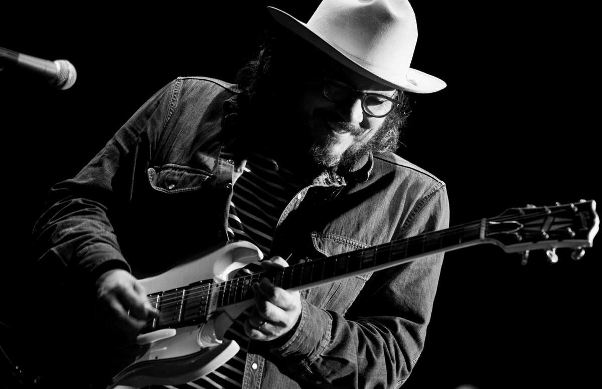 SAO PAULO, BRAZIL - OCTOBER 08: (EDITORS NOTE: image was converted to black and white. Color version available) Jeff Tweedy from Wilco performs in the Popload Festival at Urban Stage on October 8, 2016 in Sao Paulo, Brazil. (Photo by Raphael Dias/Getty Images)