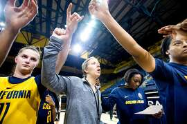 Cal women's basketball coach Lindsay Gottlieb leads a practice session on Tuesday, Nov. 22, 2016, in Berkeley, Calif.