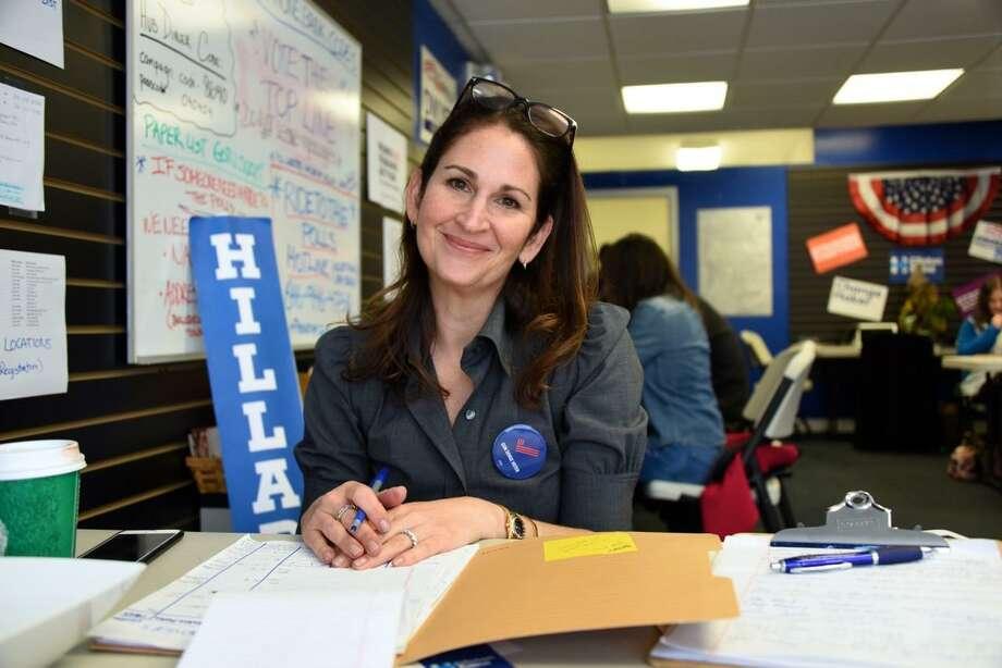 Democratic Town Committee Chairwoman Melissa Kane at DTC Headquarters. Photo: Helen Klisser During / Westport News