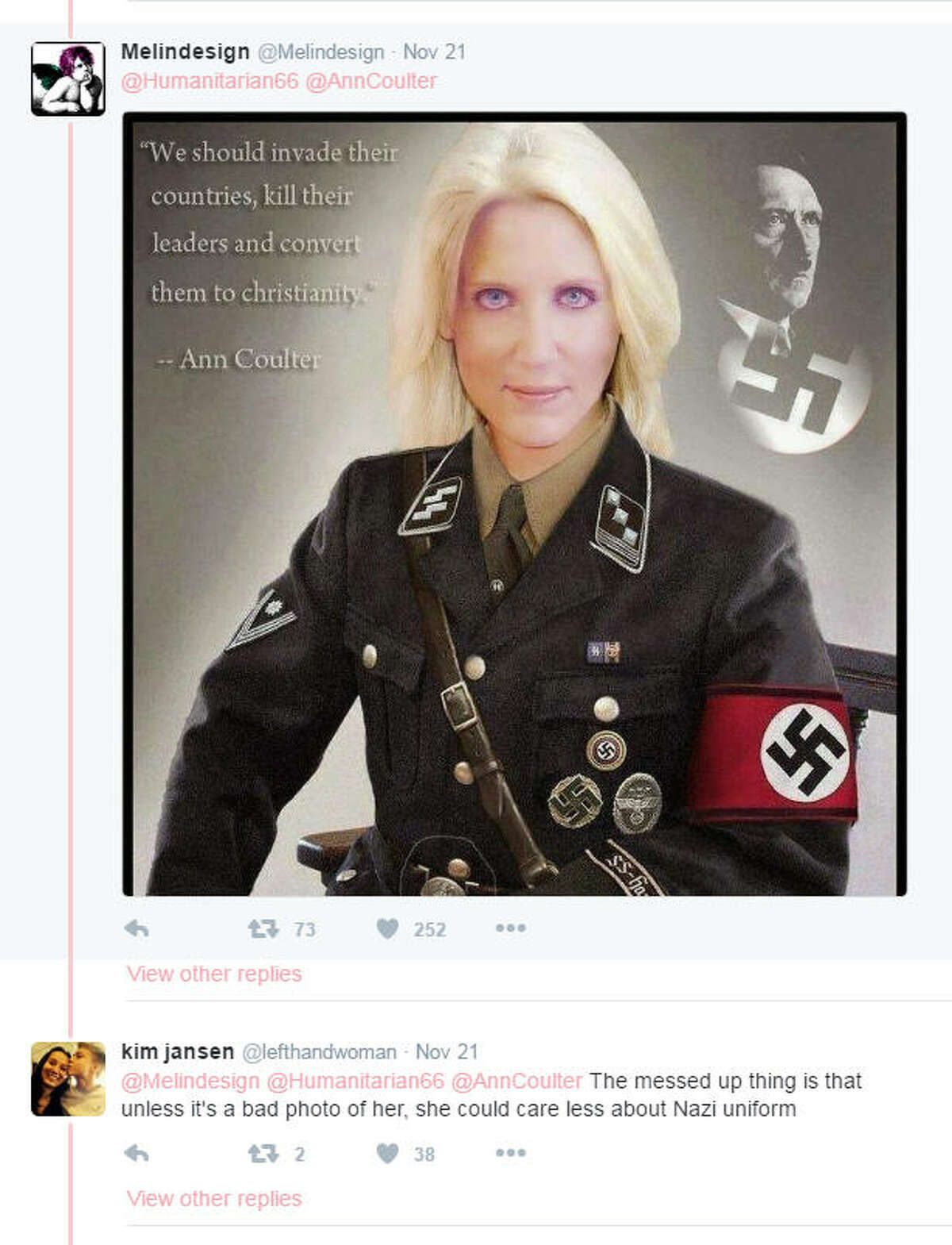 Critics lash out A few critics went to some extremes to criticize conservative commentator Ann Coulter, who defended the American Nazi party in a tweet. The controversy set of a mini-firestorm on Twitter.