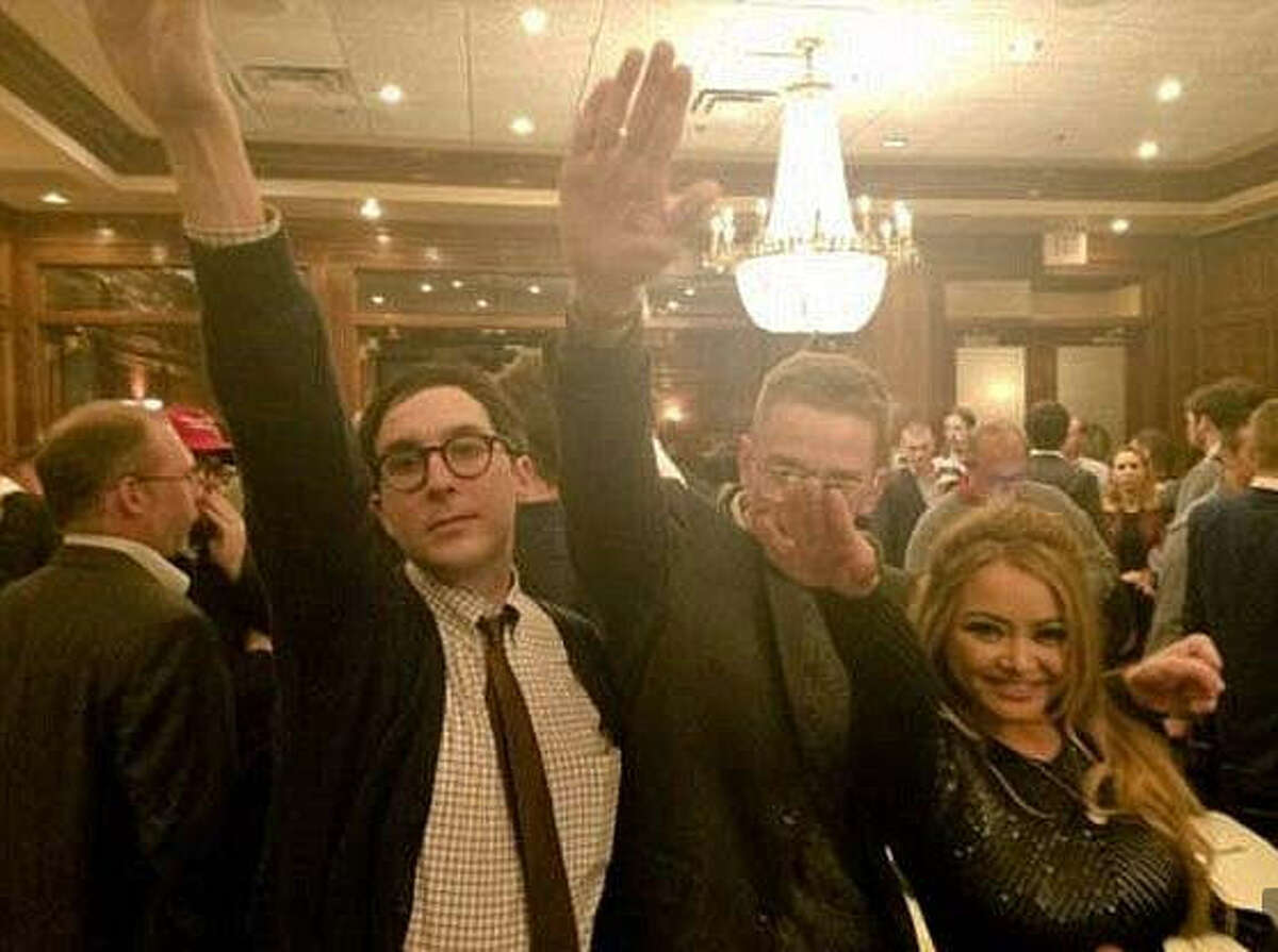 The party Reality star Tila Tequila (right) is seen at an alt-right gathering in Washington, D.C. last week. Video of the gathering shown on MSNBC's Rachel Maddow Show set off conservative commentator Ann Coulter. Her defense of the group started a mini-firestorm on Twitter.