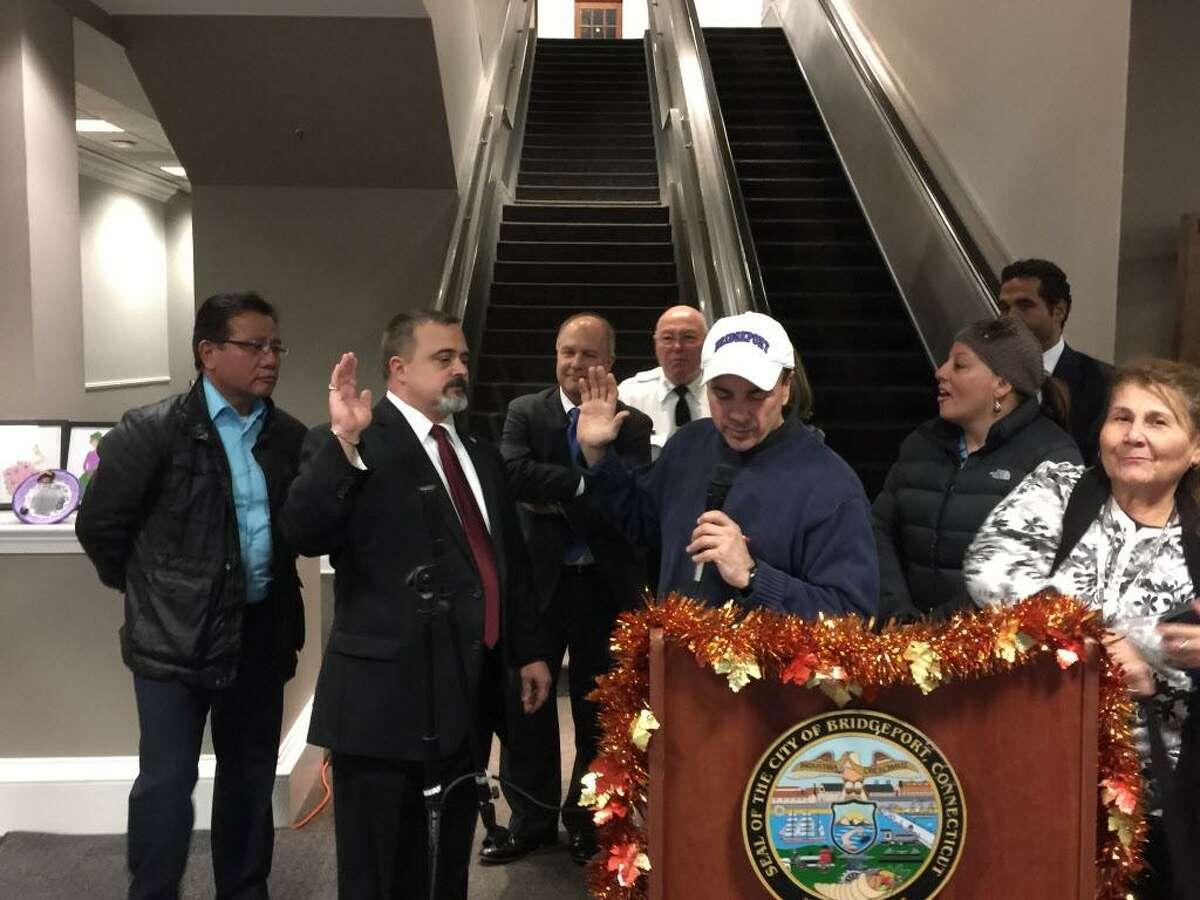 John Weldon is sworn in as a new city school board member