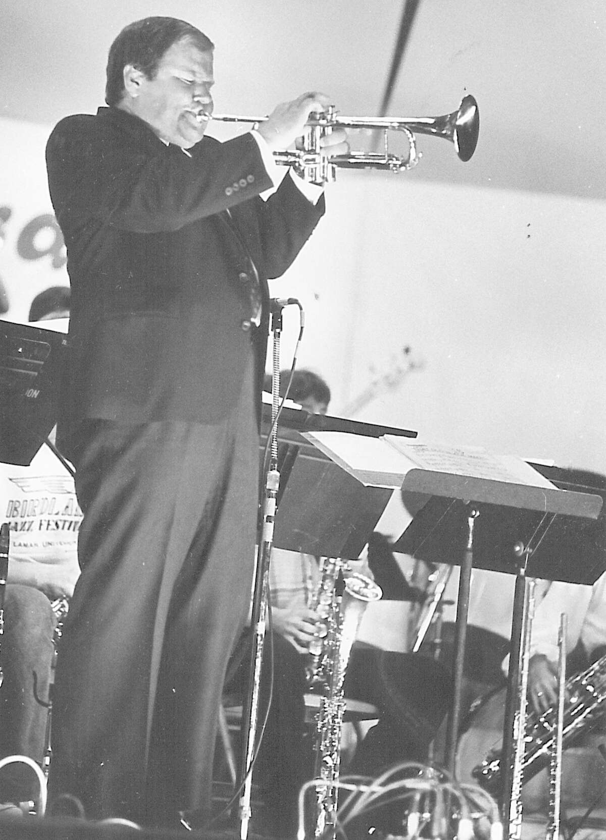 Jack Sheldon blows a mean trumpet while jamming with the Lamar Jazz Band at the Lamar Jazz Festival at the Jefferson Theatre. Photo undated
